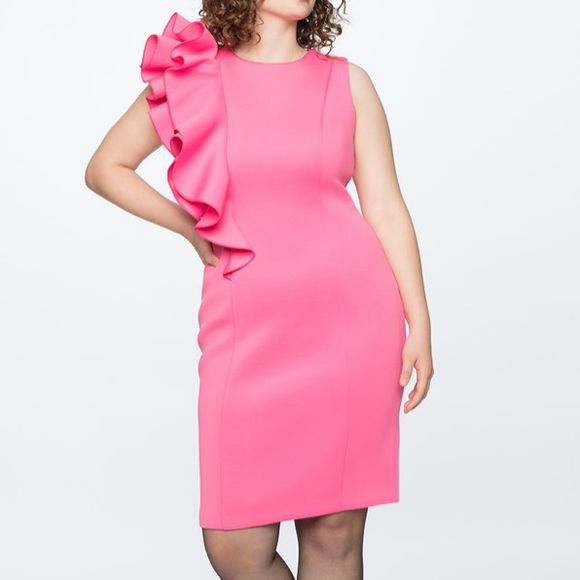 Eloquii Dresses & Skirts - Eloquii pink side ruffle party dress NEW